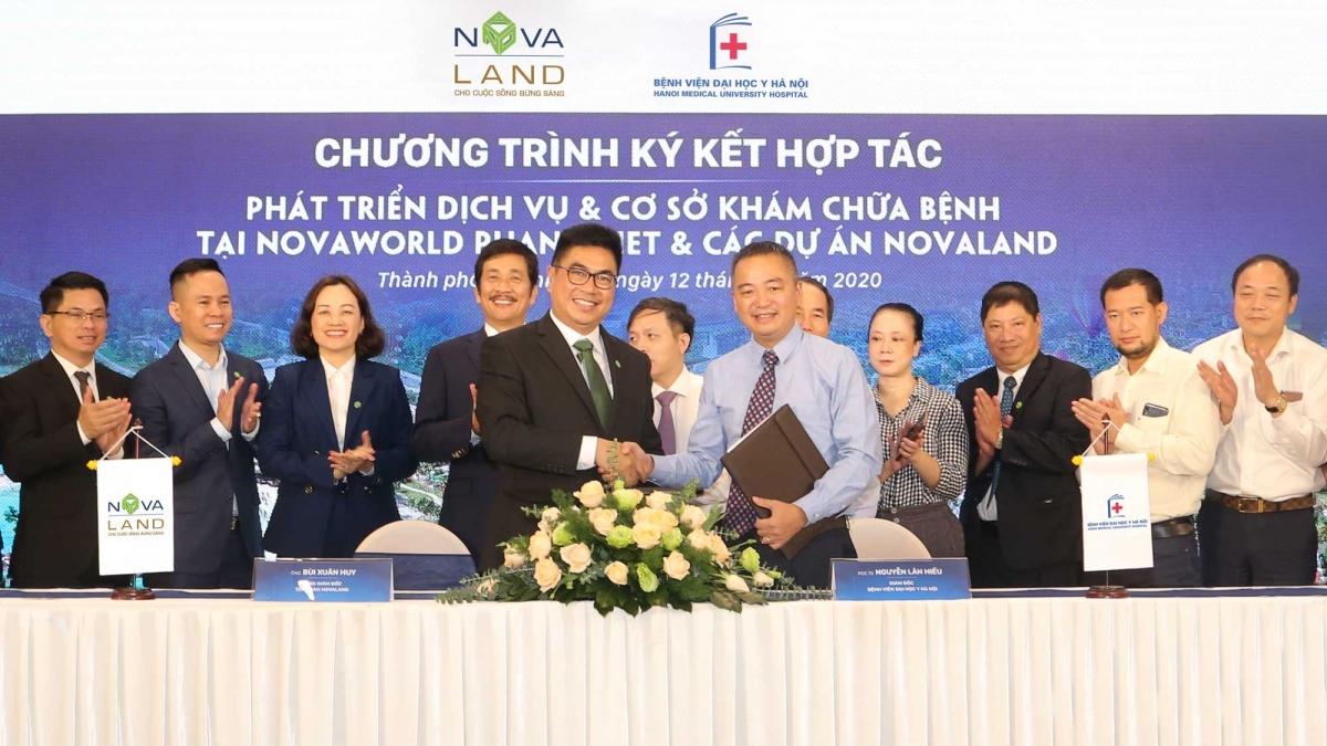 Novaland ký biên bản ghi nhớ hợp tác với Bệnh viện Đại học Y Hà Nội nhằm xây dựng bệnh viện phục hồi chức năng và cấp cứu tại NovaWorld Phan Thiet.