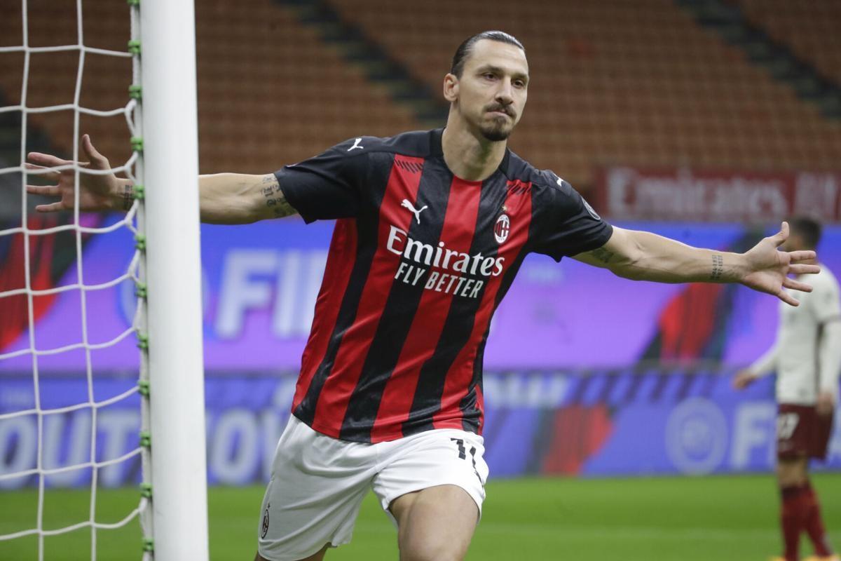 Ibrahimovic ghi 2 bàn cho Milan ở trận đấu này. (Ảnh: Getty).