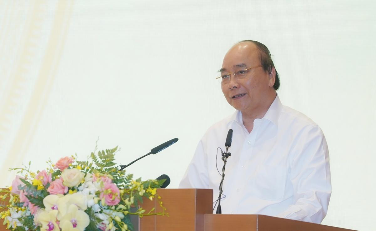 Thủ tướng Nguyễn Xuân Phúc phát biểu tại buổi gặp mặt. (Ảnh: VGP)