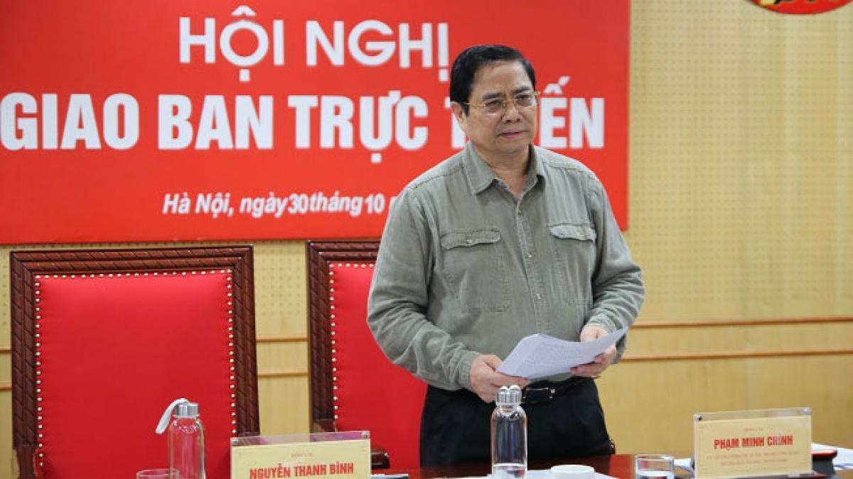 Ông Phạm Minh Chính - Ủy viên Bộ Chính trị, Bí thư Trung ương Đảng, Trưởng Ban Tổ chức Trung ương phát biểu tại hội nghị. (Ảnh: Ngô Khiêm)
