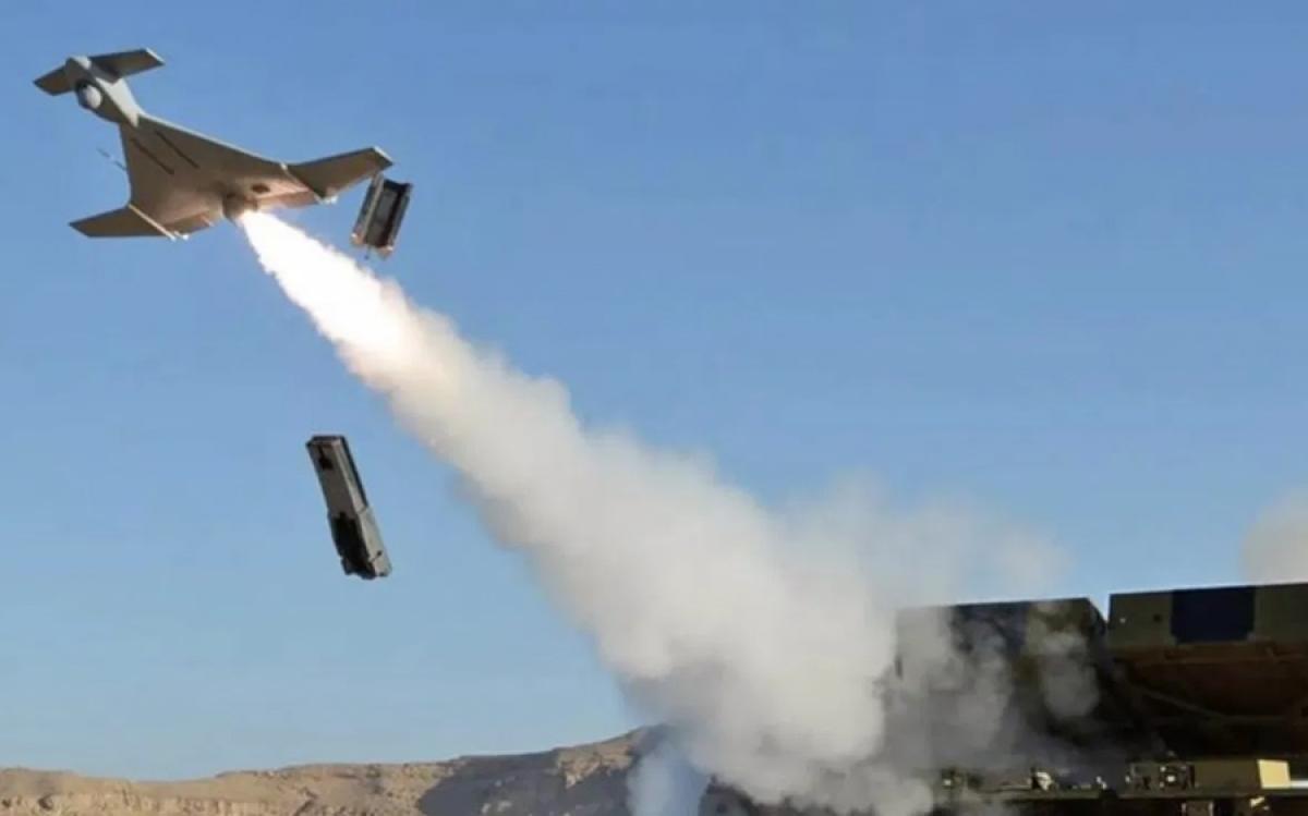 Phi cơ cảm tử không người lái Harop do Israel sản xuất, được cho là có trong kho vũ khí của quân đội Azerbaijan. Ảnh: Twitter.