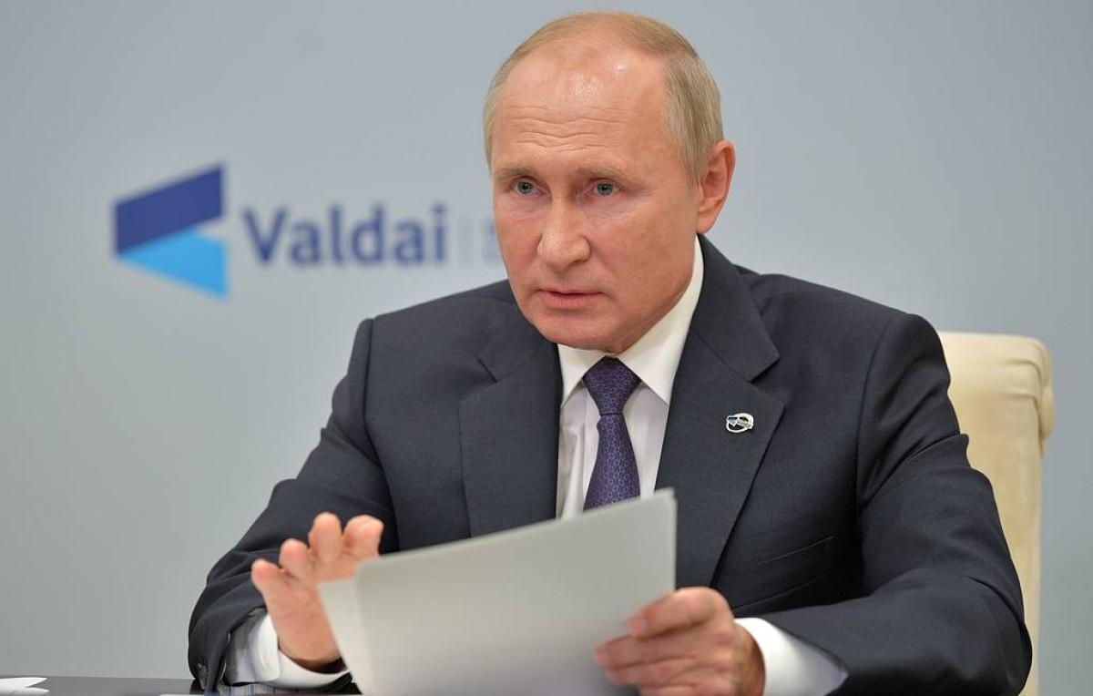 Tổng thống Nga V.Putin phát biểu tại cuộc họp của Câu lạc bộ quốc tế Valdai (Nguồn: Tass)