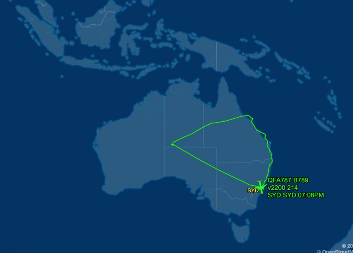Hành trình chuyến bay QF787 ngày 10/10/2020 của hãng Quantas