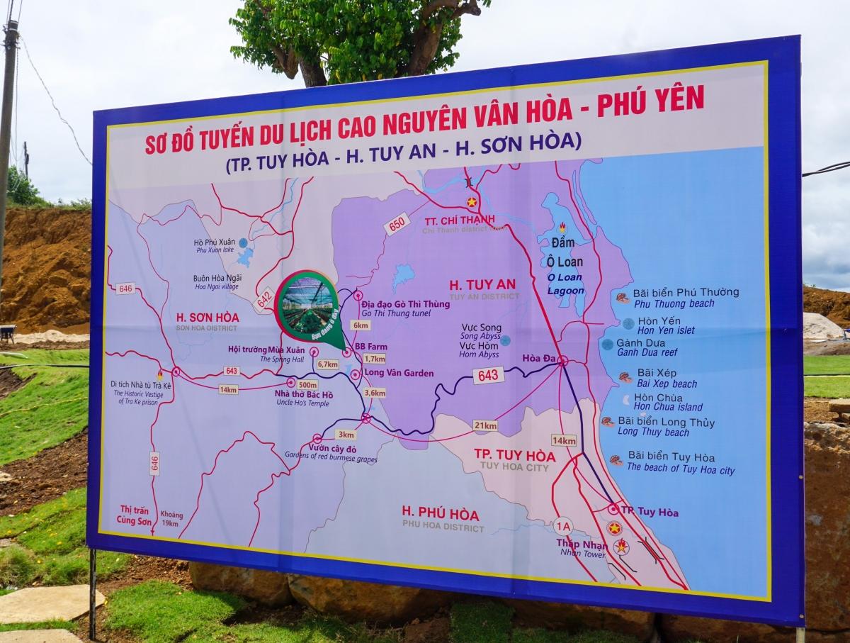 Sơ đồ tuyến du lịch Cao nguyên Vân Hòa. Ảnh: Sở VHTT&DL Phú Yên