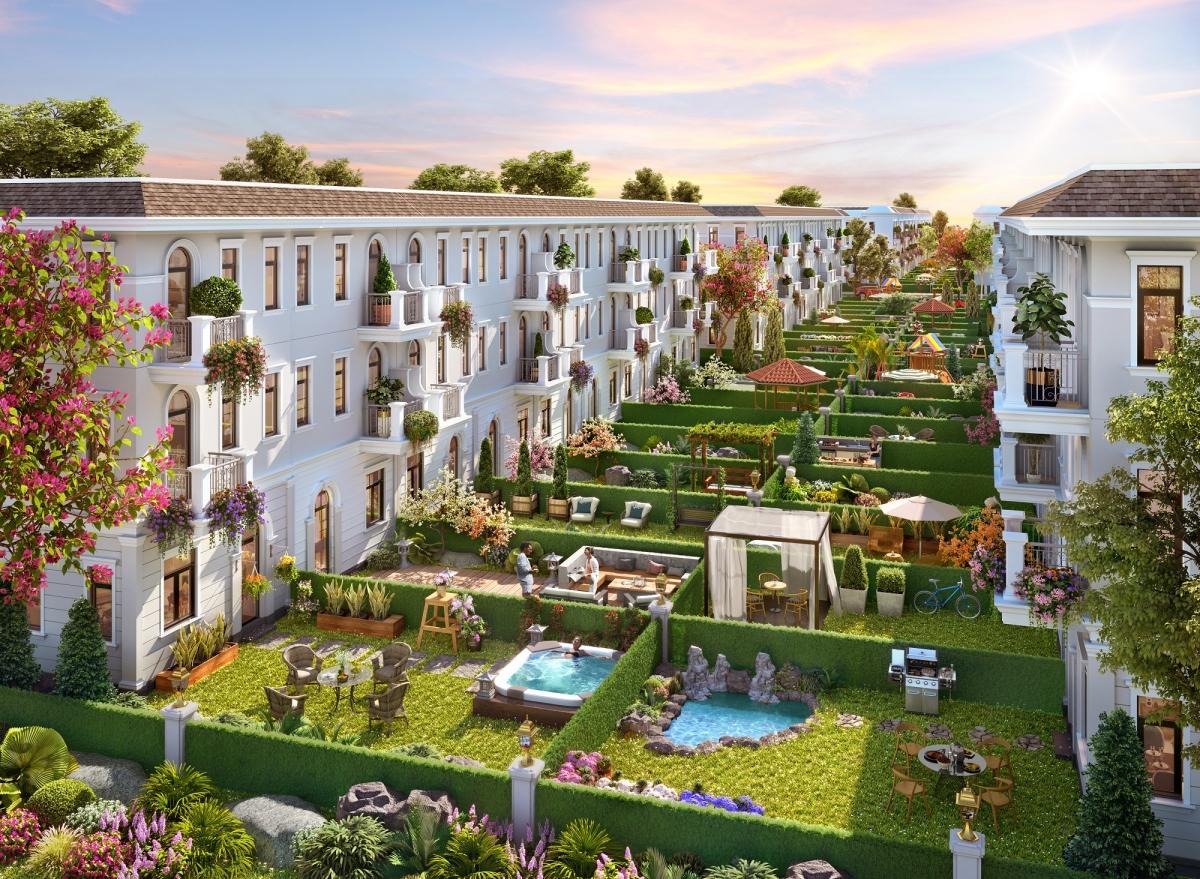 Nhà phố vườn Aqua City sở hữu khoảng sân vườn rộng 36m2 giúp gia chủ tự do sáng tạo khu vườn yêu thích.