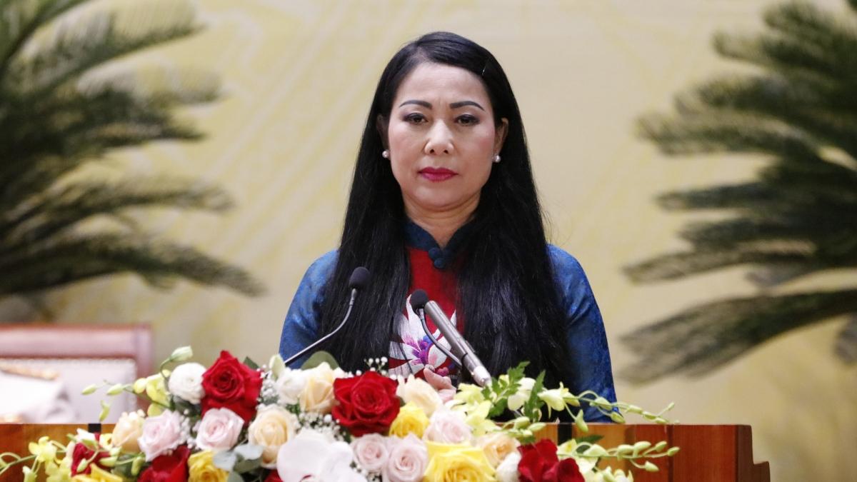 Bí thư Tỉnh ủy Vĩnh Phúc Hoàng Thị Thúy Lan phát biểu bế mạc Đại hội.