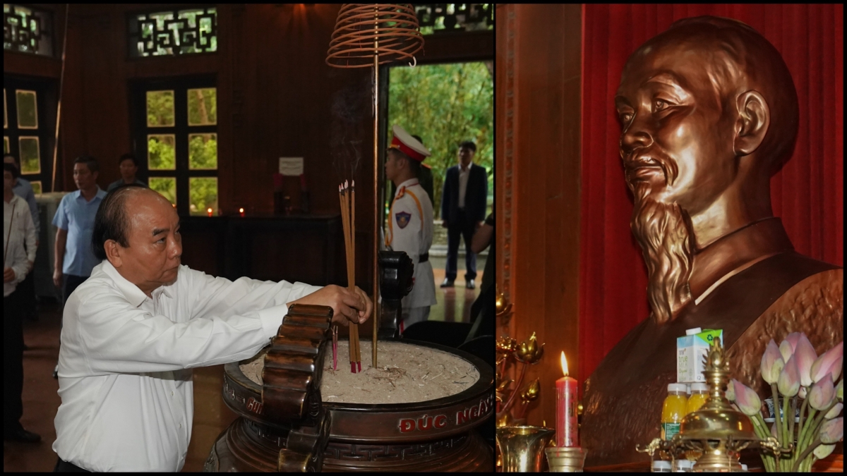 Thủ tướng dâng hương tưởng niệm Chủ tịch Hồ Chí Minh tại Khu di tích quốc gia đặc biệt Kim Liên.