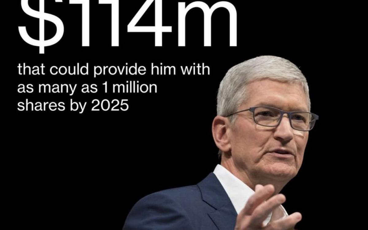 Lượng cổ phiếu Apple dự kiến tặng thưởng cho CEO Tim Cook có trị giá khoảng 114 triệu USD.