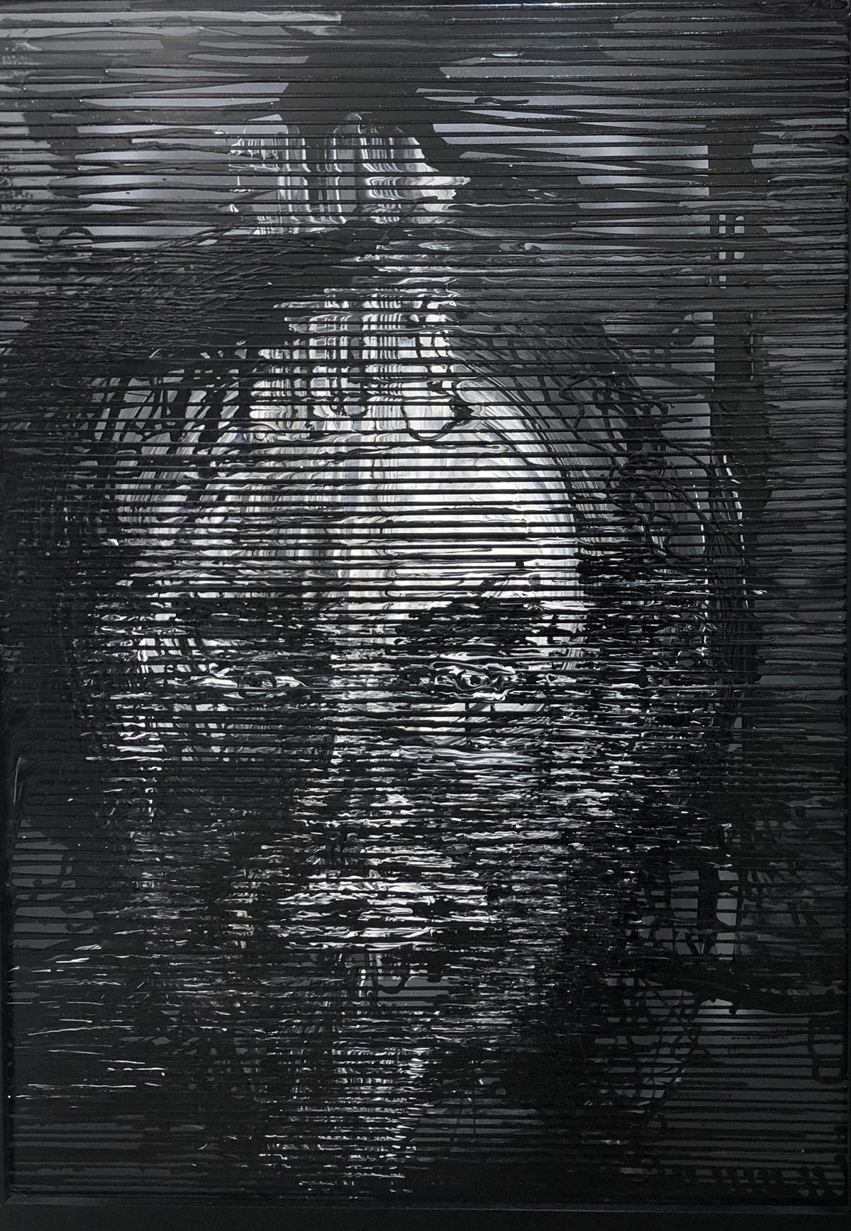 Tự họa (acrylic trên toan, tác phẩm đã bán tại triển lãm)