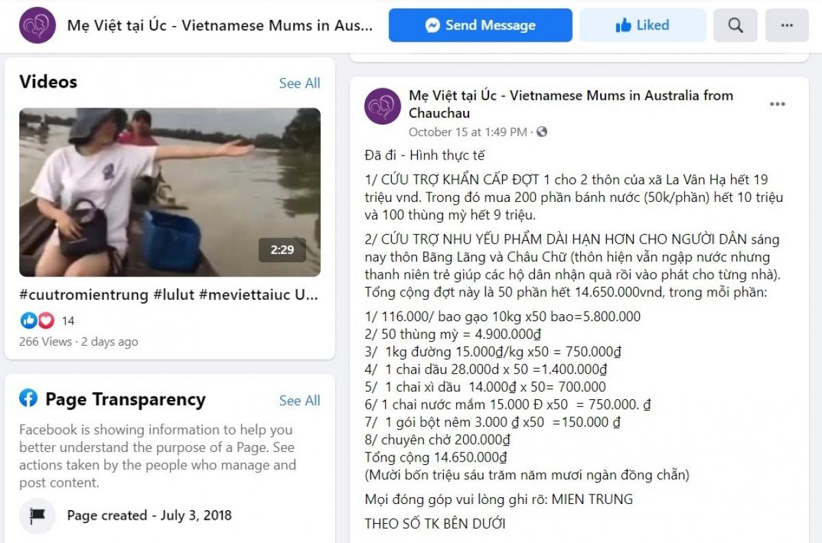 Thông tin về hoạt động hỗ trợ bà con miền Trung của nhóm luôn được cập nhật trên trang Facebook của nhóm để mọi người theo dõi.