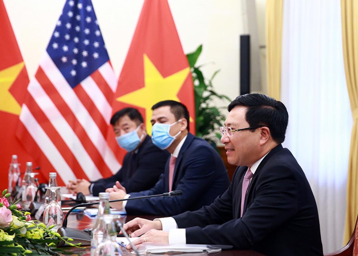 Phó Thủ tướng, Bộ trưởng Ngoại giao Phạm Bình Minh khẳng định Việt Nam coi trọng quan hệ Đối tác toàn diện với Hoa Kỳ.