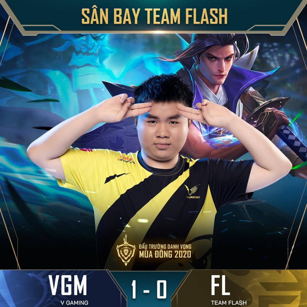 Người đi rừng Gray bên phía V-Gaming thể hiện phong độ chói sáng, qua đó cùng các đồng đội thắng thuyết phục ĐKVĐ Team Flash ở ván đầu tiên. (Ảnh: Cao thủ Liên quân).