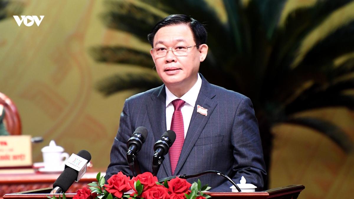 Bí thư Thành uỷ Hà Nội Vương Đình Huệ phát biểu khai mạc Đại hội. Ảnh: Ngọc Thành