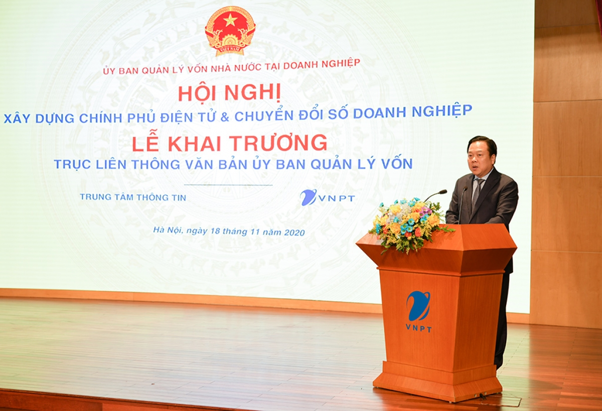 Chủ tịch Ủy ban Quản lý vốn nhà nước tại doanh nghiệp Nguyễn Hoàng Anh phát biểu khai mạc Hội nghị.