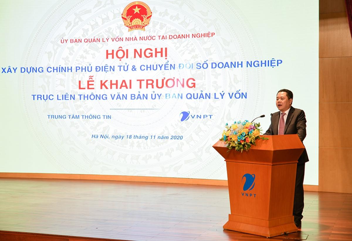 Phó Chủ tịch Ủy ban Quản lý vốn nhà nước tại doanh nghiệp Nguyễn Ngọc Cảnh phát biểu tại Hội nghị.