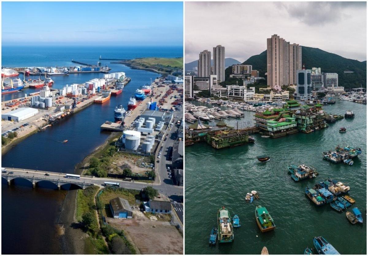 Aberdeen (Scotland) ảnh bên trái, bên phải là cảng Aberdeen Harbour ở Hồng Kông (Trung Quốc)