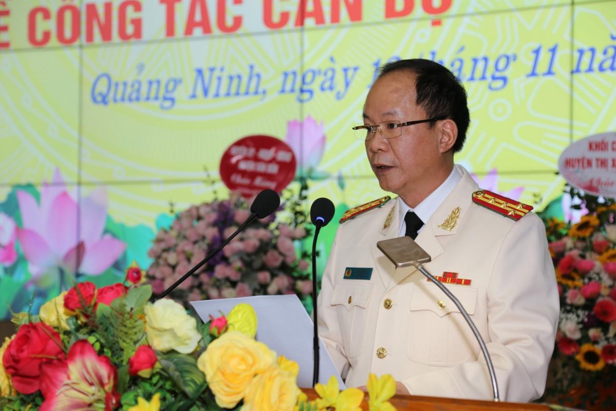 Đại tá Vũ Thanh Tùng phát biểu tại buổi lễ. Ảnh: Công an Quảng Ninh