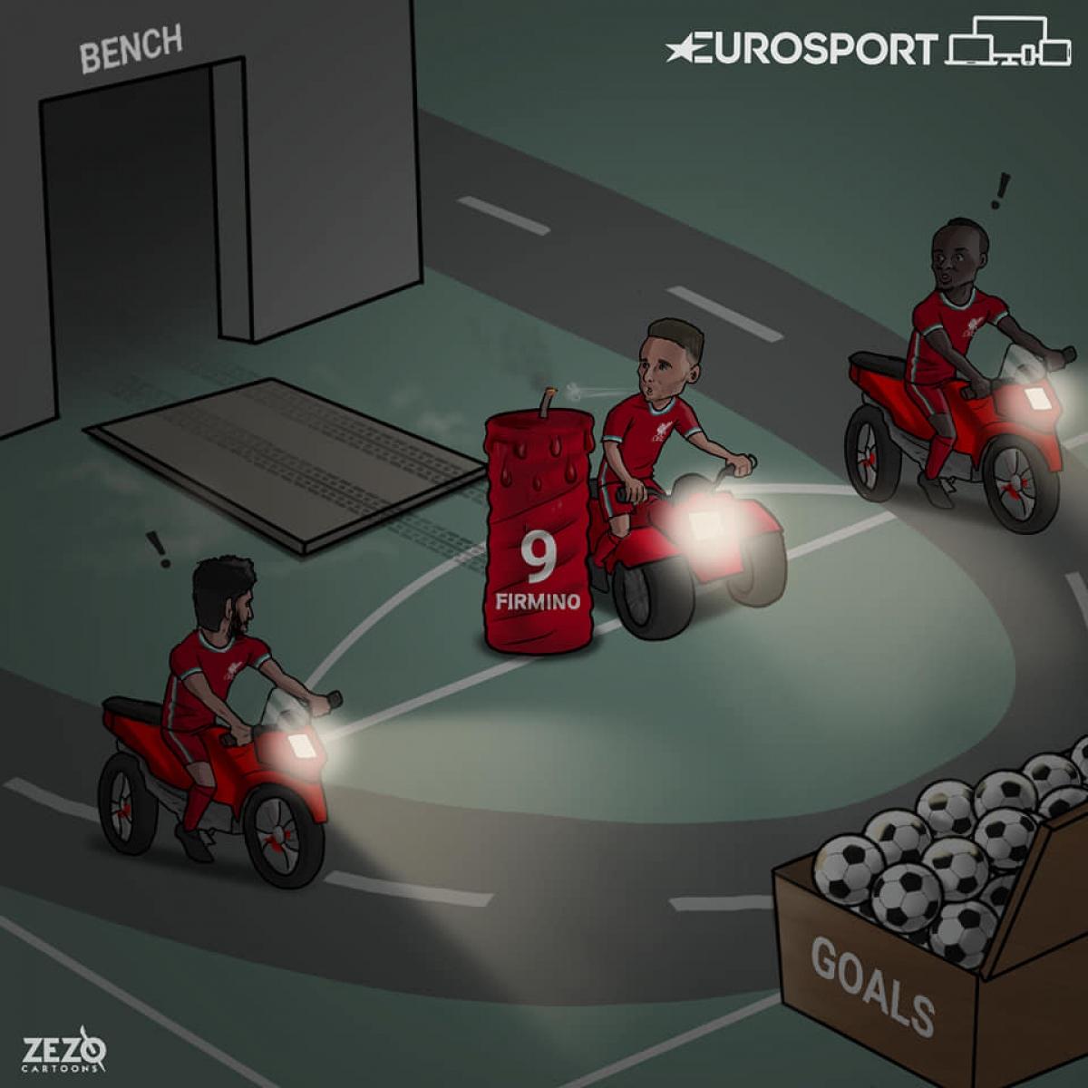 Diogo Jota xứng đáng thế chỗ Roberto Firmino trên hàng công Liverpool. (Ảnh: ZEZO Cartoons)