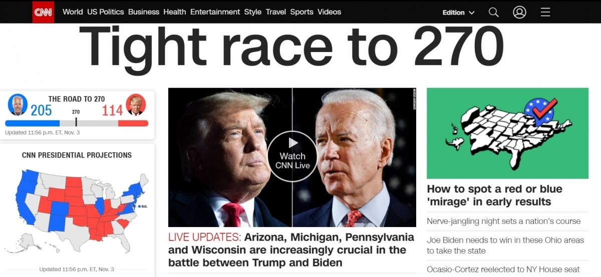 Hãng tin CNN liên tục đưa tin về cuộc bầu cử Tổng thống Mỹ. (Ảnh chụp màn hình)
