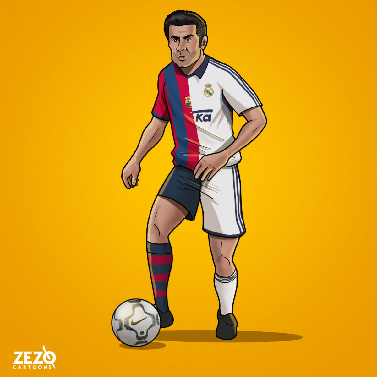 Chúc mừng sinh nhật Luis Figo. (Ảnh: ZEZO Cartoons)