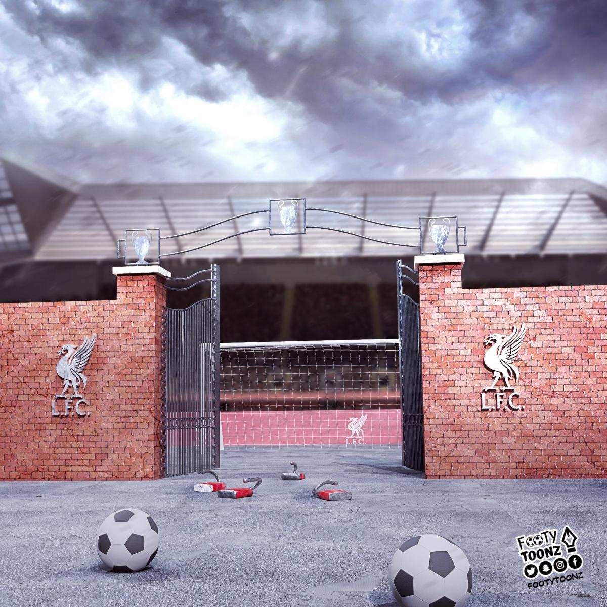 Mây đen u ám bao trùm Liverpool. (Ảnh: Footy Toonz)
