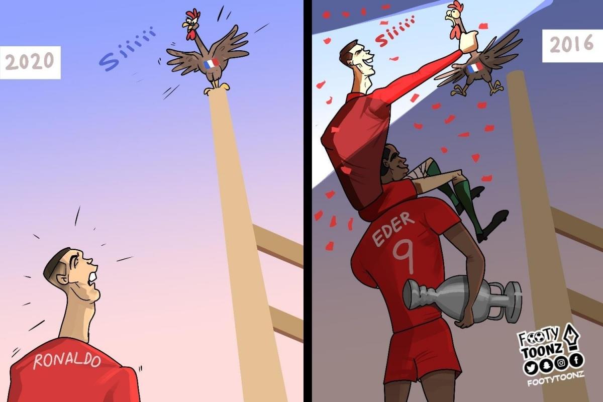 Cristiano Ronaldo trong nỗi nhớ Eder. (Ảnh: Footy Toonz)
