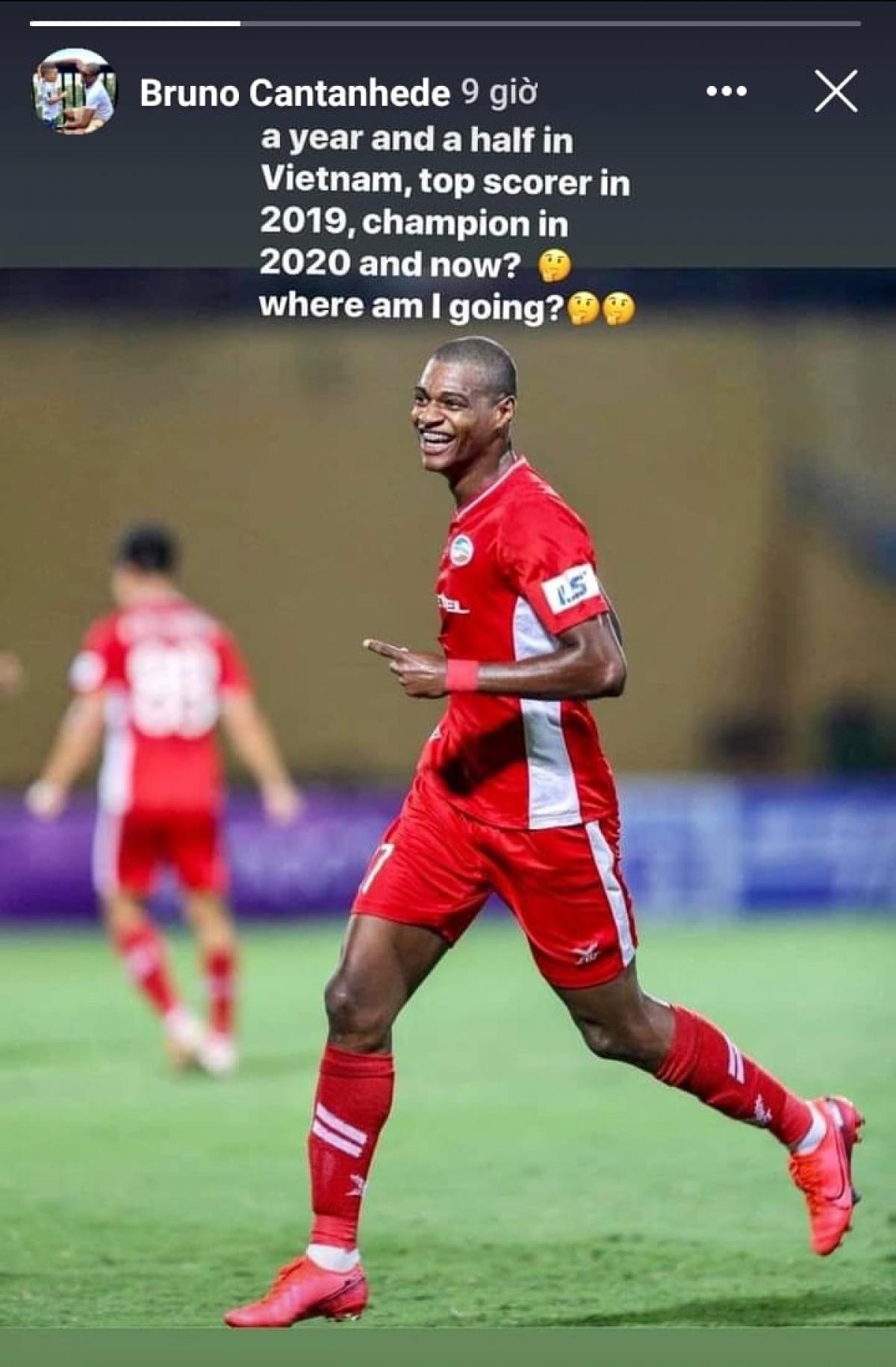 Bruno Cunha chia sẻ trạng thái cho thấy anh chưa quyết định có gắn bó với Viettel mùa 2021 hay không.