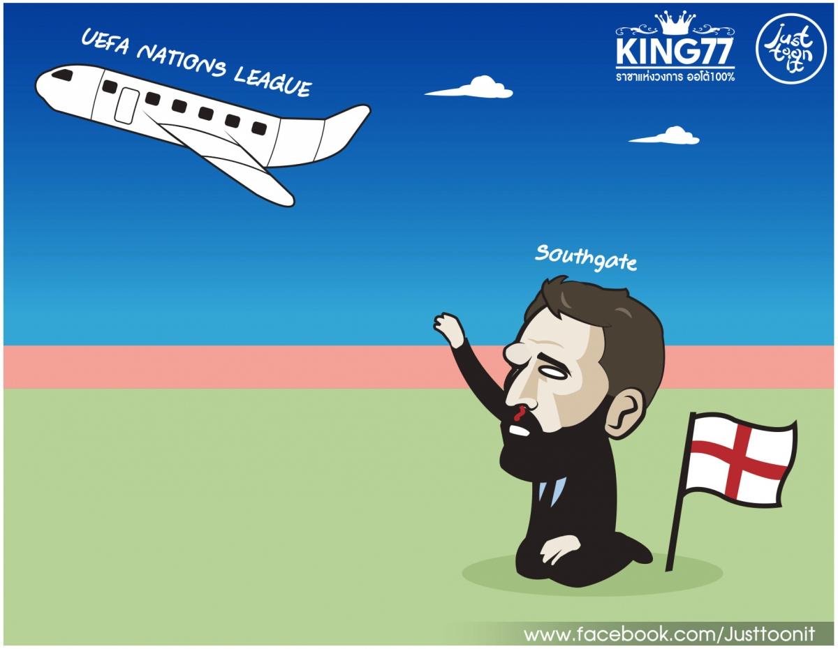 "Thầy trò Gareth Southgate ""bầm dập"" ở UEFA Nations League. (Ảnh: Just Toon It)"