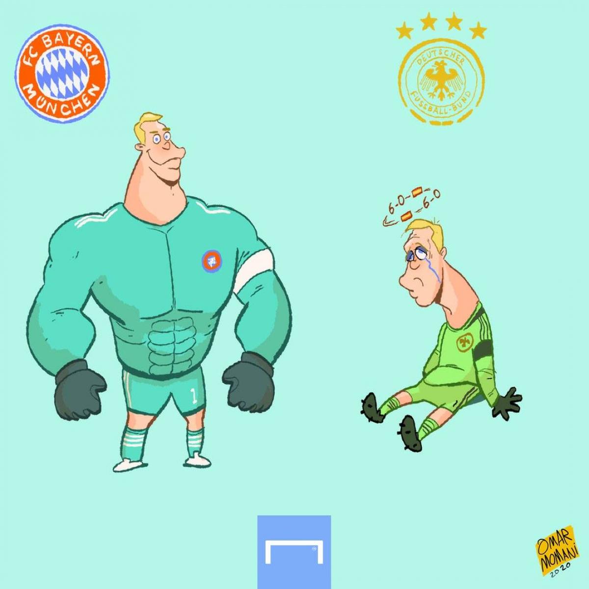 Manuel Neuer ở Bayern và Manuel Neuer ở ĐT Đức. (Ảnh: Omar Momani)