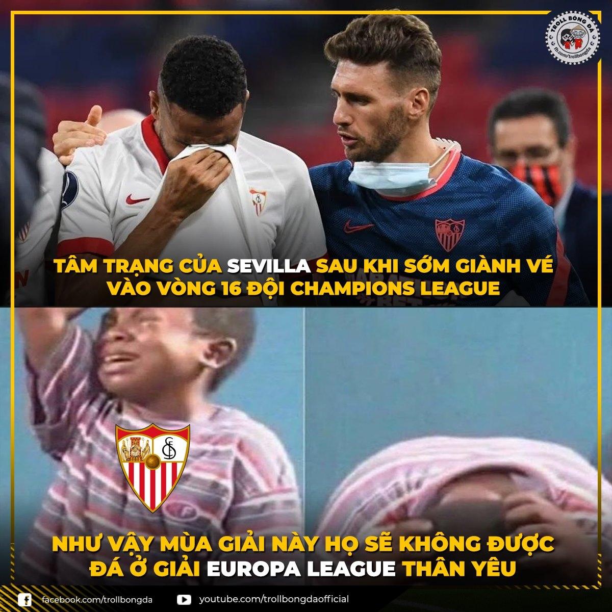 Sevilla chính thức trở thành cựu vương Europa League. (Ảnh: Troll Bóng Đá)