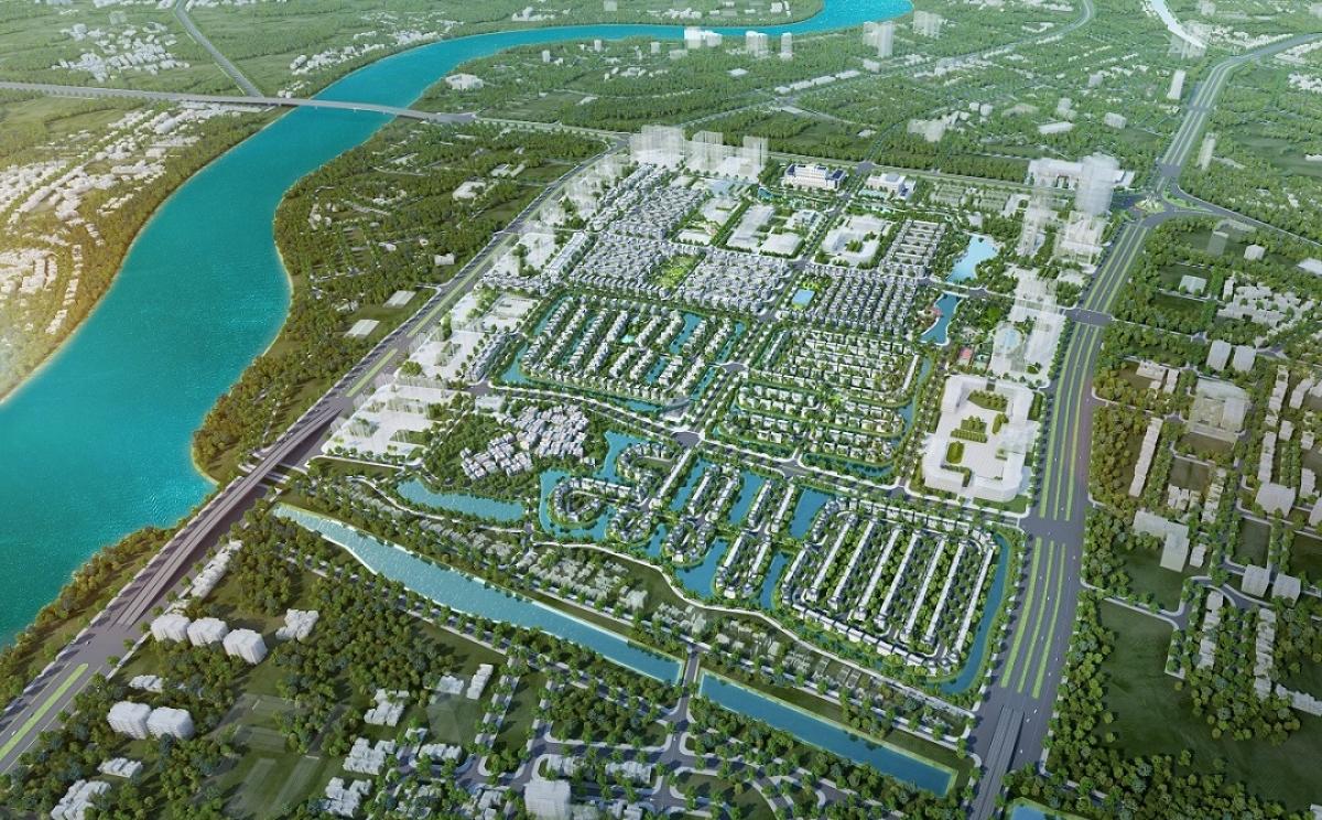 Vị trí địa lí đắc địa của khu đô thị Vinhomes Star City từ trên cao (Hình ảnh mang tính chất minh họa).