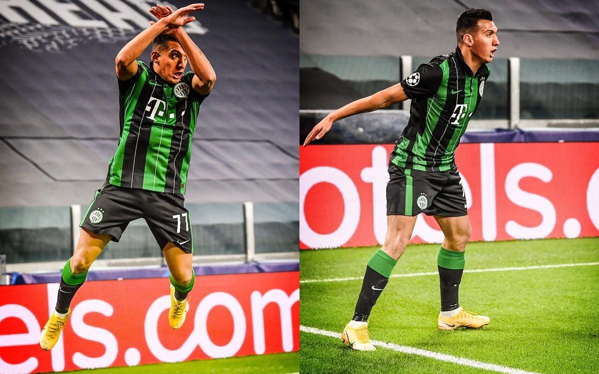 Myrto Uzuni ăn mừng theo phong cách quen thuộc của Cristiano Ronaldo sau khi giúp Ferencvaros bất ngờ mở tỷ số.