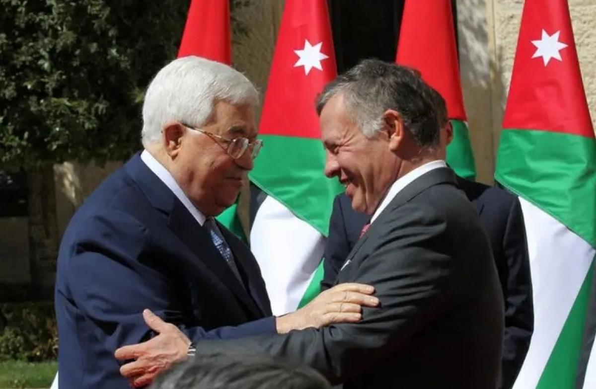 Quốc vương Jordan và Tổng thống Palestine trong cuộc gặp năm 2018. Ảnh: Reuters
