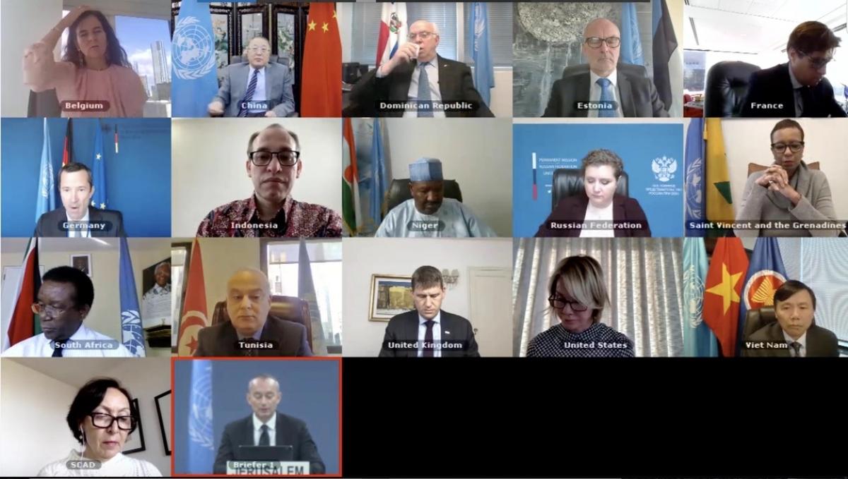 Phiên họp trực tuyến của Hội đồng Bảo an Liên Hợp Quốc về Palestine.