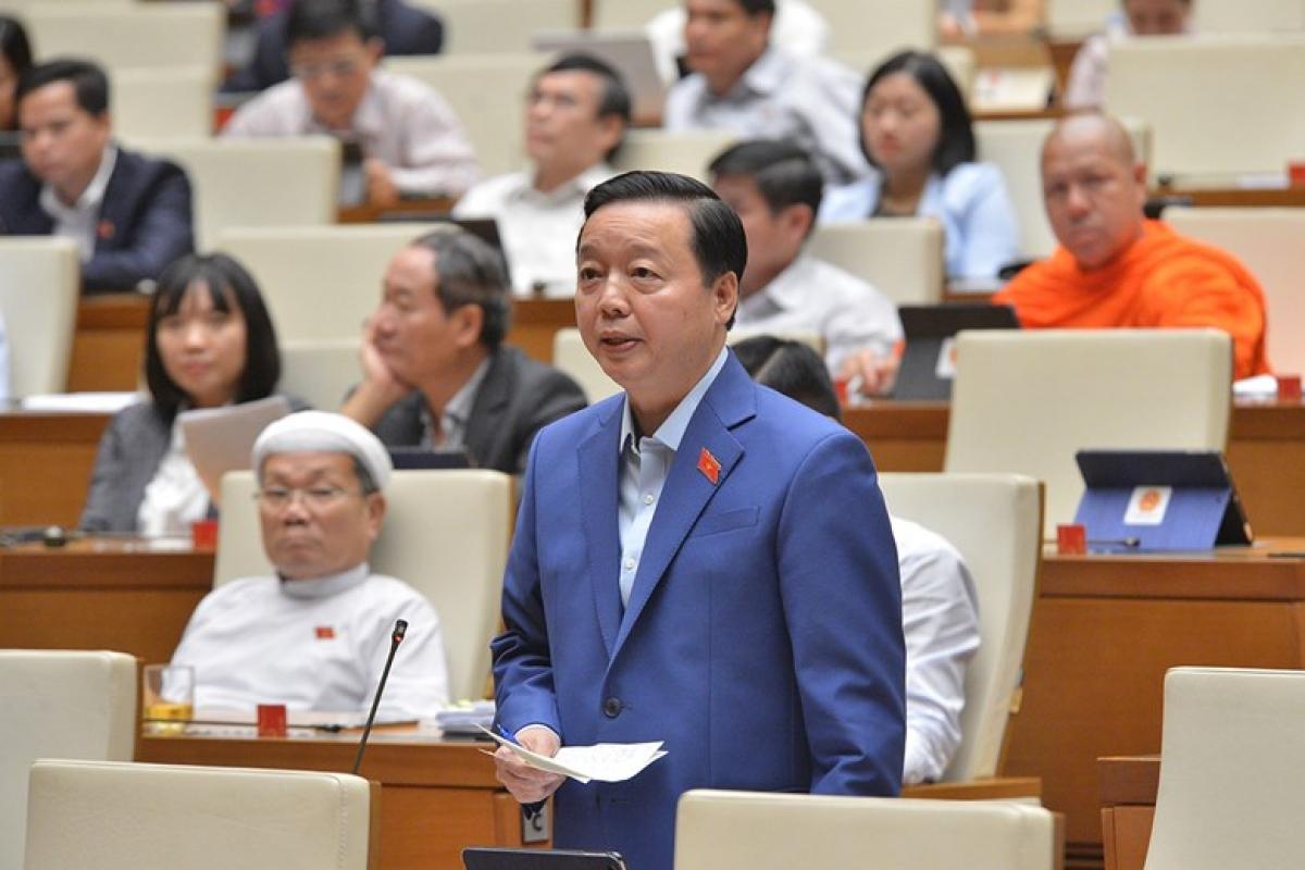 Bộ trưởng Bộ Tài nguyên và Môi trường Trần Hồng Hà. Ảnh: Quốc hội