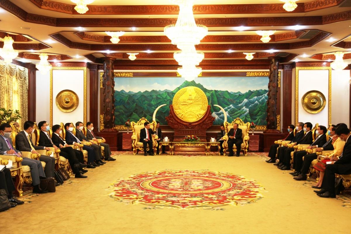 Tổng Bí thư, Chủ tịch nước Lào Bounnhang Vorachith tiếpPhó Thủ tướng, Bộ trưởng Ngoại giao Phạm Bình Minh.