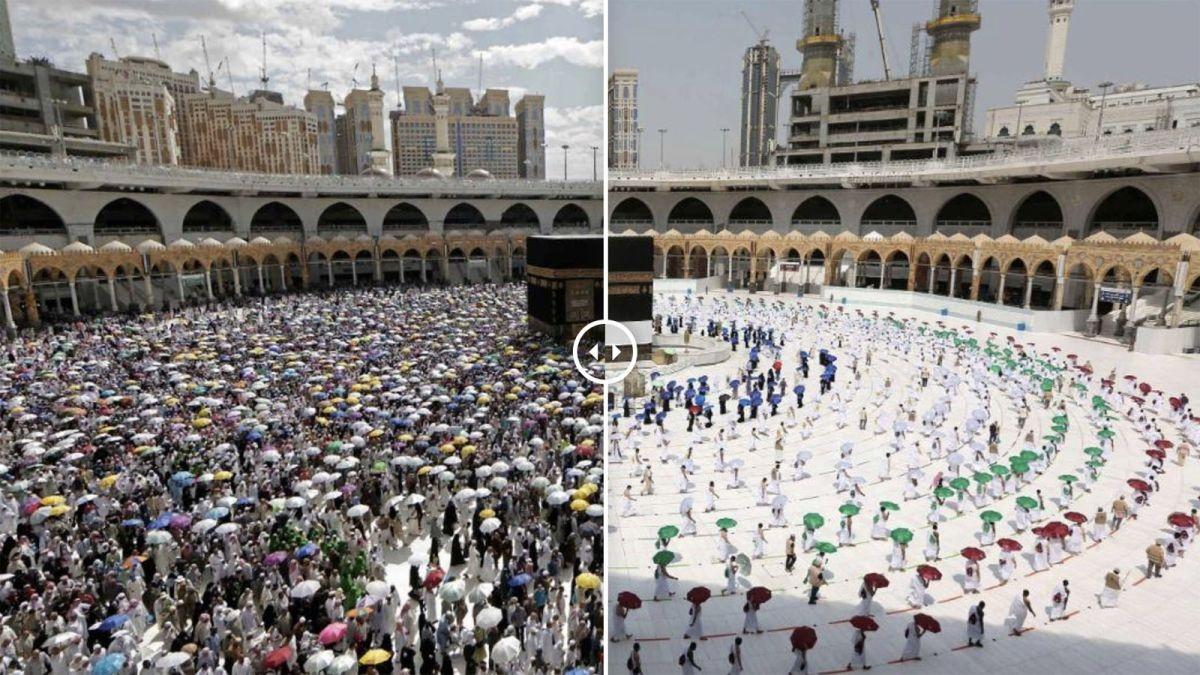 Hình ảnh dòng người hành hương về Mecca,Saudi Arabianăm 2019 (trái) và năm nay (ảnh phải). Nguồn: TTXVN