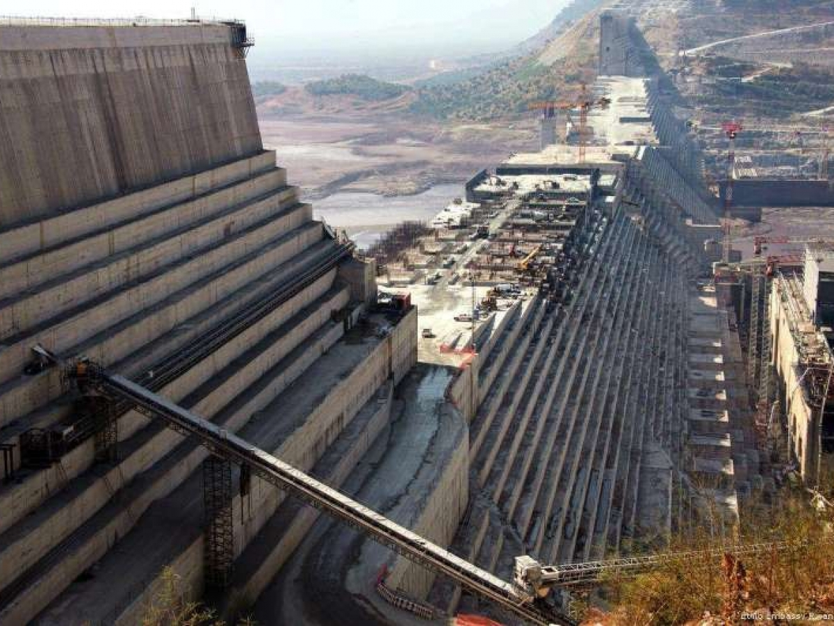 Công trường Đập thủy điện Đại phục hưng mà Ethiopia xây dựng trên sông Nile. Nguồn ảnh: Middleeastmonitor
