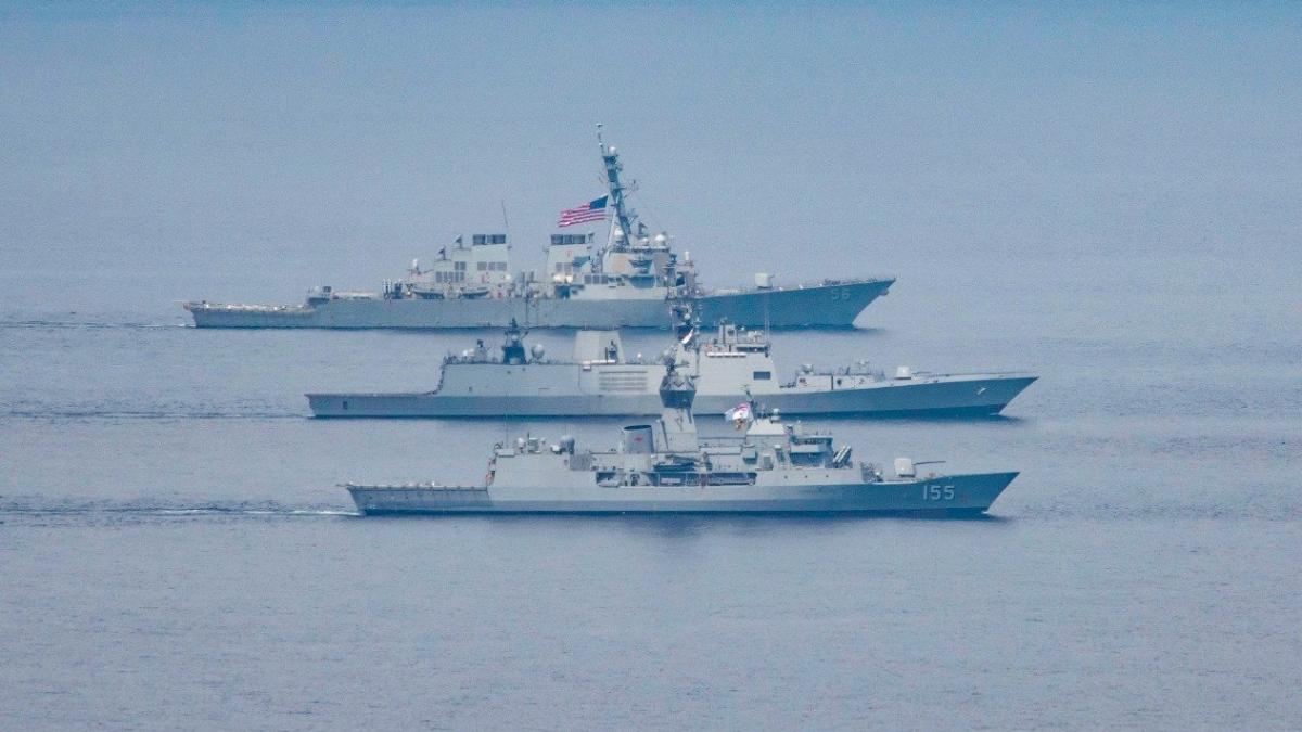 Các tàu chiến của Hải quân Ấn Độ, Mỹ, Nhật Bản và Australia trong giai đoạn 1 Tập trận hải quân Malabar (ANI Photo)