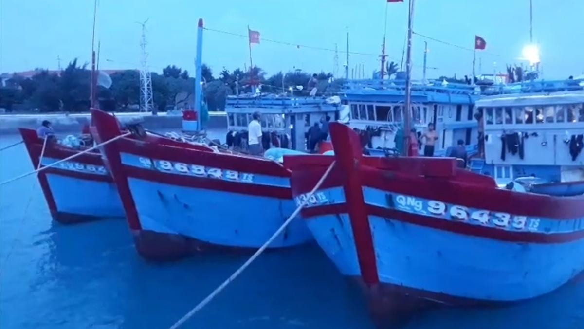 Các tàu cá neo đậu an toàn tại âu tàu Sinh Tồn tránh trú bão số 9.