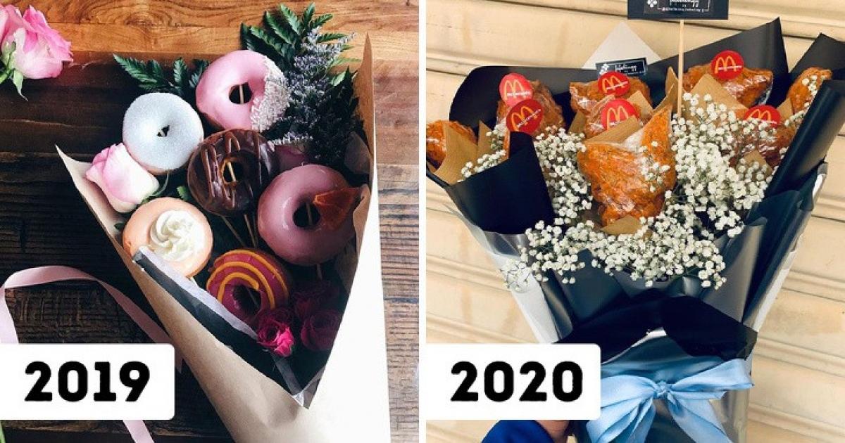 Những bó hoa thức ăn từ xúc xích, thịt xông khói, cá viên… đều là những món quà hấp dẫn.