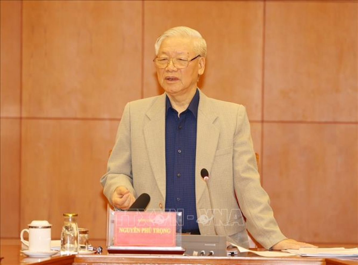 Tổng Bí thư, Chủ tịch nước Nguyễn Phú Trọng phát biểu tại cuộc họp. Ảnh: TTXVN