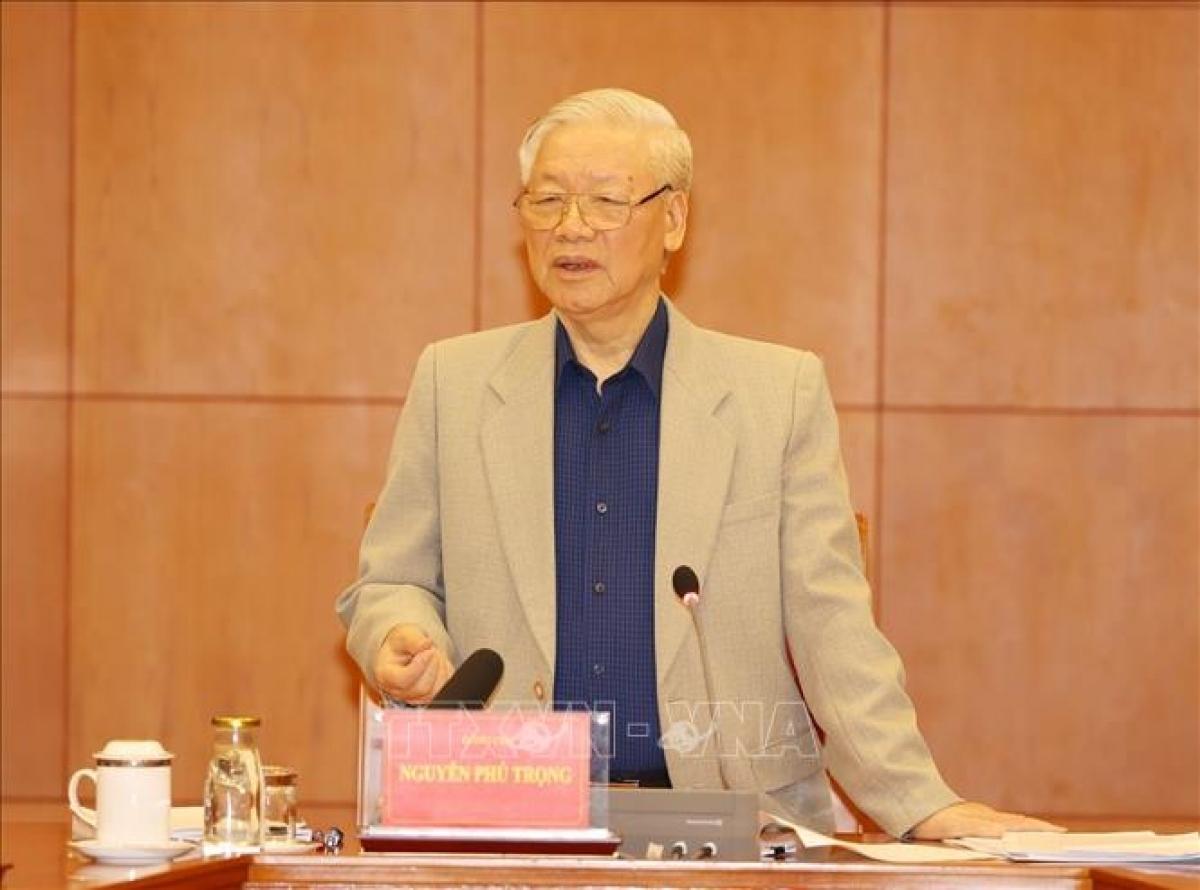 Tổng Bí thư, Chủ tịch nước Nguyễn Phú Trọng phát biểu tại cuộc họp của Thường trực Ban Chỉ đạo Trung ương về phòng chống tham nhũng. (Ảnh: TTXVN)