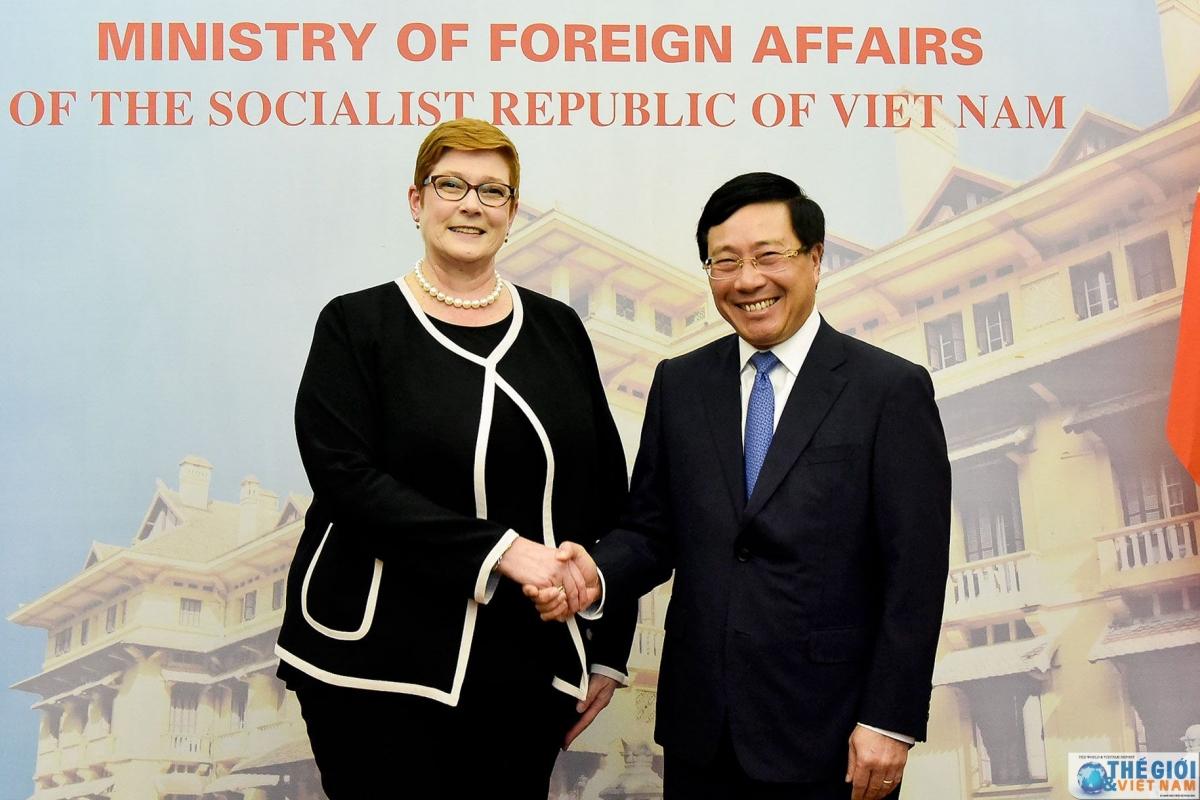 Bộ trưởng Ngoại giao Phạm Bình Minh, Bộ trưởng Ngoại giao Australia Marise Payne thăm chính thức Việt Nam từ ngày 12-13/6/2019. Nguồn ảnh: Báo Quốc tế