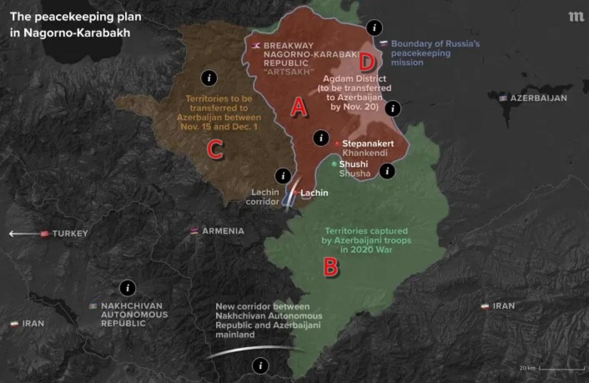 """Đồ họa về kế hoạch gìn giữ hòa bình ở Nagorno-Karabakh (từ ngày 10/11/2020). Trong đó, vùng A là vùng lõi Nagorno-Karabakh. Vùng B gồm các lãnh thổ mà quân đội Azerbaijan chiếm được trong cuộc chiến tranh 2020. Vùng C là vùng mà Armenia/""""Cộng hòa Artsakh"""" sẽ phải chuyển giao cho Azerbaijan trong khoảng thời gian từ 15/11 đến 1/12/2020. Vùng D (vùng Agdam) sẽ được chuyển giao cho Azerbaijan vào ngày 20/11. Nguồn: Bộ Quốc phòng Nga."""