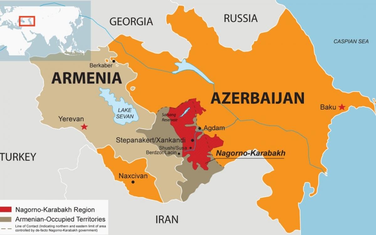 Bản đồ Armenia và Azerbaijan với vùng biên giới tiếp giáp với Iran, vào thời điểm trước cuộc chiến tranh Nagorno-Karabakh nổ ra vào ngày 27/9/2020. Ảnh: Drishtiias.