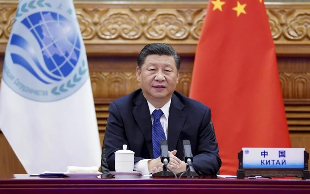 Chủ tịch Trung Quốc Tập Cận Bình tại hội nghị trực tuyến SCO. Ảnh: Tân Hoa xã.