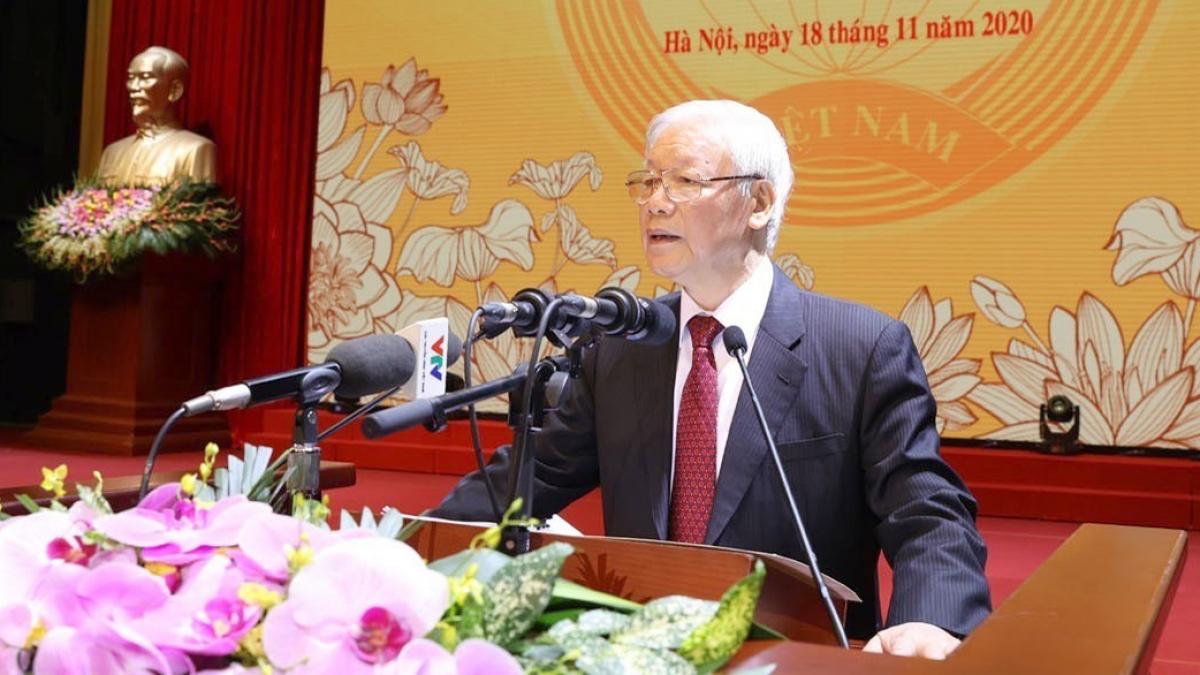 Tổng Bí thư, Chủ tịch nước Nguyễn Phú Trọng đọc Diễn văn tại Lễ kỷ niệm. Ảnh: TTXVN