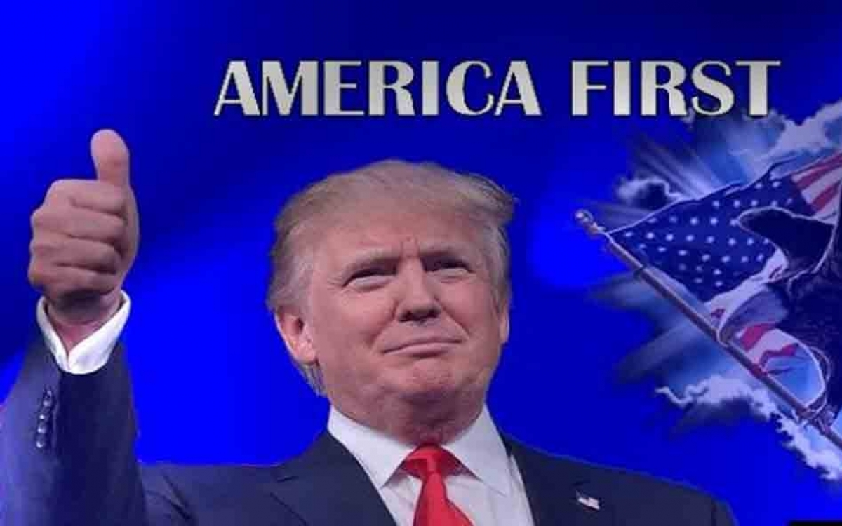 """Đương kim Tổng thống Mỹ Donald Trump và chính sách """"Nước Mỹ trước tiên"""" (""""America First). Đồ họa: Vifindia."""