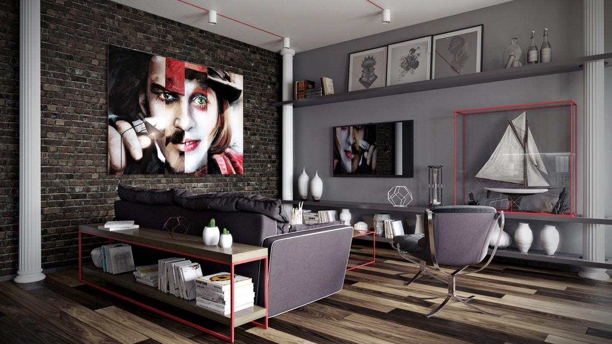 Màu xám tạo tông nền dễ dàng trang trí.Sàn gỗ, đi văng màu xám và các phụ kiện cùng 1 bức tranh trừu tượng lớn trên bức tường gạch lộ ra ngoài.